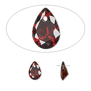 drop, cubic zirconia, garnet red, 9x6mm hand-faceted teardrop, mohs hardness 8-1/2. sold per pkg of 6.