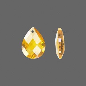 drop, cubic zirconia, gold, 16x12mm hand-faceted teardrop, mohs hardness 8-1/2. sold per pkg of 2.
