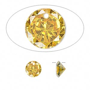 drop, cubic zirconia, gold, 8mm hand-faceted round, mohs hardness 8-1/2. sold per pkg of 8.