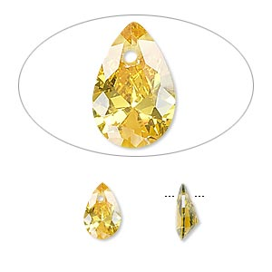 drop, cubic zirconia, gold, 9x6mm hand-faceted teardrop, mohs hardness 8-1/2. sold per pkg of 6.