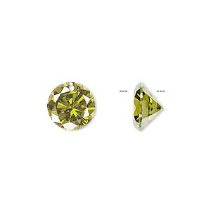 drop, cubic zirconia, olive green, 10mm hand-faceted round, mohs hardness 8-1/2. sold per pkg of 4.