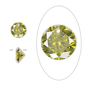 drop, cubic zirconia, olive green, 8mm hand-faceted round, mohs hardness 8-1/2. sold per pkg of 8.