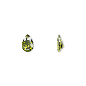 drop, cubic zirconia, olive green, 9x6mm hand-faceted teardrop, mohs hardness 8-1/2. sold per pkg of 6.