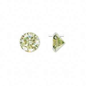 drop, cubic zirconia, peridot green, 10mm hand-faceted round, mohs hardness 8-1/2. sold per pkg of 2.