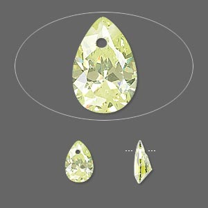 drop, cubic zirconia, peridot green, 9x6mm hand-faceted teardrop, mohs hardness 8-1/2. sold per pkg of 4.
