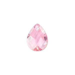 drop, cubic zirconia, pink, 16x12mm hand-faceted teardrop, mohs hardness 8-1/2. sold per pkg of 2.