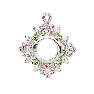 drop, czech glass rhinestone and imitation rhodium-plated pewter (tin-based alloy), clear ab / green / pink, 27x27mm single-sided diamond with cutout and flowers with leaves design. sold individually.