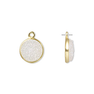 drop, electro-coated druzy agate (coated) and gold-finished sterling silver, white opal, 11mm hand-cut single-sided flat round. sold individually.