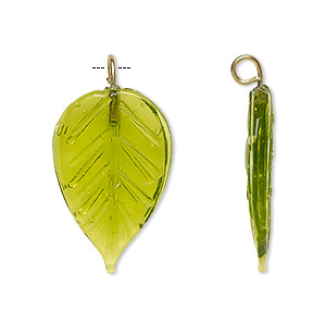 drop, glass and brass, transparent green, 26x16mm double-sided leaf. sold per pkg of 12.