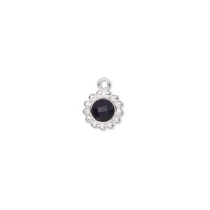 drop, glass and sterling silver, black, 9mm single-sided round. sold individually.