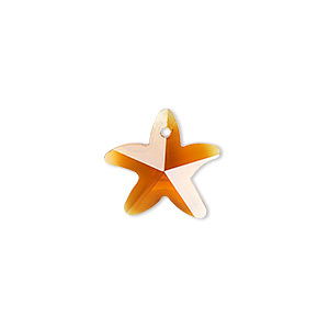 drop, glass, brown, 15x14mm hand-cut faceted starfish. sold per pkg of 4.