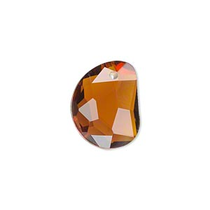 drop, glass, brown, 18x14mm faceted 3/4 moon. sold per pkg of 2.