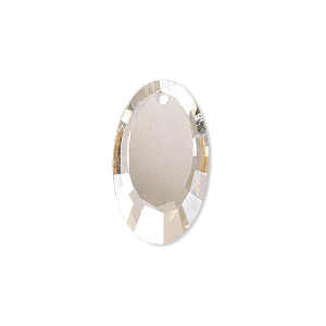 drop, glass, champagne, 22x13mm double-sided faceted oval. sold per pkg of 2.