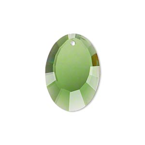 drop, glass, green, 23x17mm double-sided faceted oval. sold per pkg of 2.