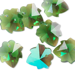 drop, glass, green ab, 16mm hand-cut faceted leaf. sold per pkg of 10.