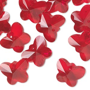 drop, glass, red, 14x11mm hand-cut faceted butterfly. sold per pkg of 16.