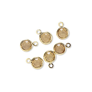 drop, glass rhinestone and gold-finished brass, topaz yellow, 6-6.5mm faceted round. sold per pkg of 6.