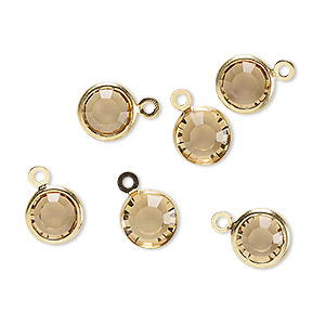 drop, glass rhinestone and gold-finished brass, topaz yellow, 8-9mm faceted round. sold per pkg of 6.