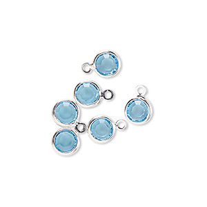 drop, glass rhinestone and silver-finished brass, aqua blue, 6-6.5mm faceted round. sold per pkg of 6.