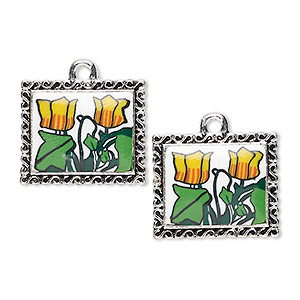 drop, glazed polymer clay and silver-finished pewter (zinc-based alloy), multicolored, 20x17mm single-sided rectangle with tulip design and swirl edge. sold per pkg of 2.