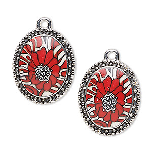 drop, glazed polymer clay and silver-finished pewter (zinc-based alloy), red / white / black, 24x20mm single-sided oval with flower design with beaded edge. sold per pkg of 2.