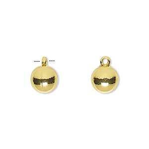 drop, gold-finished pewter (zinc-based alloy), 8mm round. sold per pkg of 10.