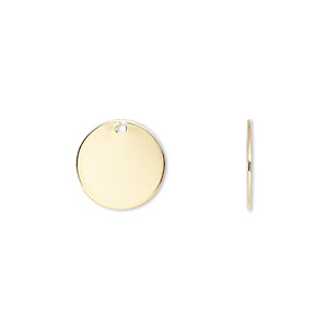 drop, gold-plated brass, 12mm flat round. sold per pkg of 100.
