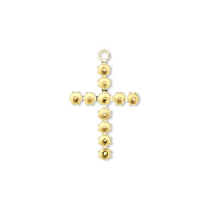 drop, gold-plated brass, 20x14mm cross with eleven 2mm stone settings. sold per pkg of 48.