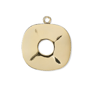 drop, gold-plated brass, 23x22mm rounded square. sold per pkg of 4.