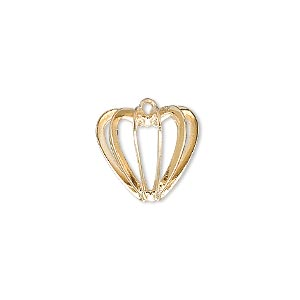 drop, gold-plated steel and brass, 14x14mm heart cage. sold per pkg of 100.