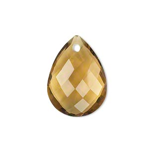 drop, golden quartz (heated), light to dark, 24x18mm hand-carved faceted puffed flat teardrop, b+ grade, mohs hardness 7. sold individually.