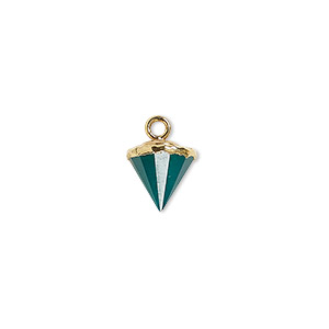 drop, green onyx (dyed) / electroplated gold / gold-finished sterling silver, 9x8mm-11x8mm hand-cut faceted cone. sold individually.