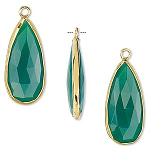 drop, green onyx (dyed) and gold-finished sterling silver, 27x12mm double-sided faceted teardrop. sold per pkg of 2.