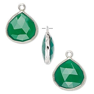 drop, green onyx (dyed) and sterling silver, 15x15mm double-sided faceted teardrop. sold per pkg of 2.
