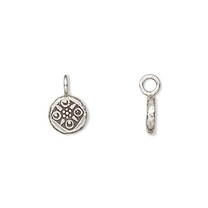 drop, hill tribes, antiqued fine silver, 8mm fancy round. sold individually.
