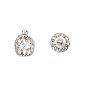drop, imitation nickel-plated steel and brass, 11x9mm swirled round cage. sold per pkg of 100.