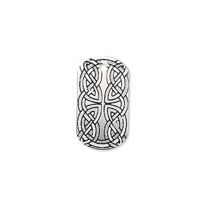 drop, imitation rhodium-finished carbon steel, black and white, 20x11mm single-sided dog tag with celtic knot design. sold per pkg of 4.