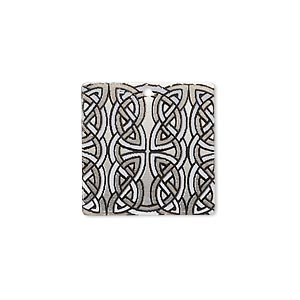 drop, imitation rhodium-finished carbon steel, black and white, 20x20mm single-sided square with celtic knot design. sold per pkg of 4.