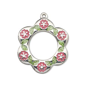 drop, imitation rhodium-finished pewter (zinc-based alloy) and enamel, light green/pink/white, 29x27mm single-sided flower with circle cutout with flowers and leaves. sold individually.