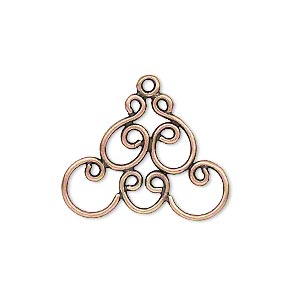drop, jbb findings, antique copper-plated brass, 25x18mm with fancy design. sold per pkg of 2.