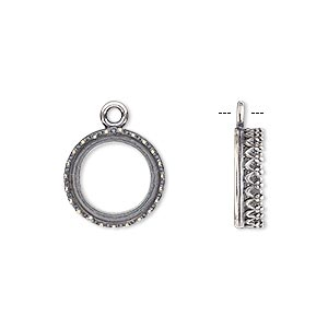 drop, jbb findings, antique silver-plated brass, 13.5mm round with open back and decorative trim, 12mm round bezel setting. sold per pkg of 2.