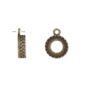 drop, jbb findings, antiqued brass, 11.5mm round with open back and filigree edge, 10mm round setting. sold per pkg of 2.