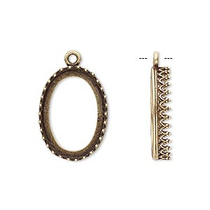 drop, jbb findings, antiqued brass, 20x15mm oval with decorative trim, 18x13mm oval bezel setting. sold per pkg of 2.