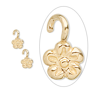 drop, jbb findings, gold-finished sterling silver, 5x5mm flower. sold per pkg of 2.