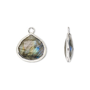drop, labradorite (natural) and sterling silver, 15mm double-sided faceted teardrop. sold per pkg of 2.