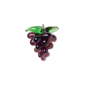 drop, lampworked glass and silver-plated brass, purple and green, 21x18mm grapes. sold individually.