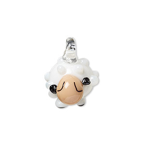 drop, lampworked glass, white / pink / black, 19x13mm sheep. sold individually.