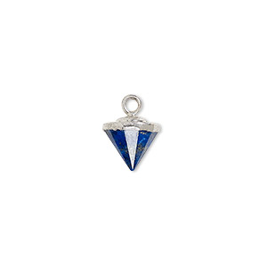 drop, lapis lazuli (natural) / electroplated silver / silver-plated sterling silver, 9x8mm-11x8mm hand-cut faceted cone. sold individually.