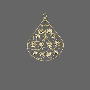 drop, lazer lace™, gold-finished brass, 24x20mm fancy pear. sold per pkg of 20.