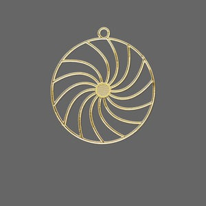 drop, lazer lace™, gold-finished brass, 25mm round with swirls. sold per pkg of 20.